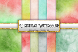 Print on Demand: Christmas Watercolor Background Texture Graphic Backgrounds By PinkPearly