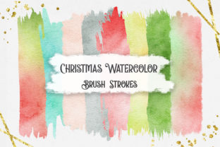 Print on Demand: Christmas Watercolor Brush Strokes Graphic Backgrounds By PinkPearly