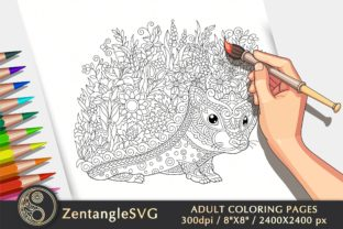 Floral Hedgehog Coloring Page for Adults Graphic Coloring Pages & Books Adults By ZentangleSVG