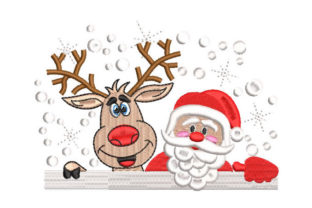 Santa Claus with Reindeer Christmas Embroidery Design By Embroiderypacks