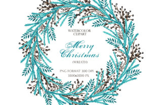 Christmas Winter Watercolor Wreath. Graphic Illustrations By sabina.zhukovets