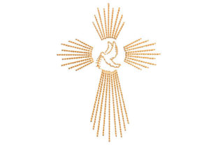 Cross with Dove Religion & Faith Embroidery Design By Embroiderypacks