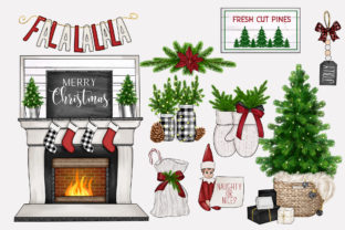 Print on Demand: FARMHOUSE HYGGE CHRISTMAS CLIPARTS Graphic Illustrations By TheGGShop 4
