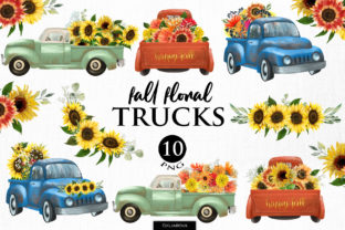 Print on Demand: Fall Floral Trucks Graphic Illustrations By HappyWatercolorShop 1