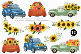 Print on Demand: Fall Floral Trucks Graphic Illustrations By HappyWatercolorShop 2