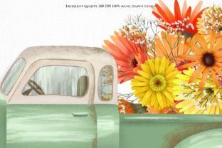 Print on Demand: Fall Floral Trucks Graphic Illustrations By HappyWatercolorShop 3