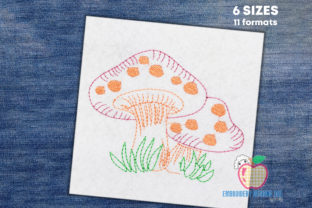 Mushroom Growing in Grass Forest & Trees Embroidery Design By embroiderydesigns101