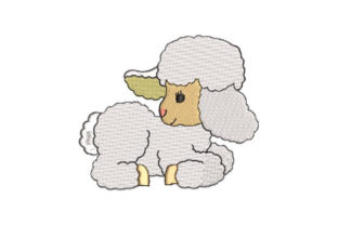 White Sheep Baby Animals Embroidery Design By Embroiderypacks