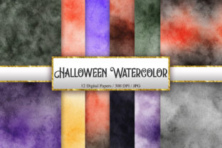Print on Demand: Halloween Watercolor Background Texture Graphic Backgrounds By PinkPearly