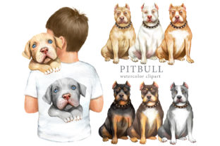Pitbull Watercolor Clipart. Dog Clipart Graphic Add-ons By EvArtPrint