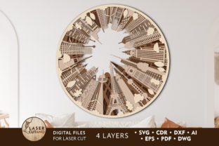 Print on Demand: WORLD Multilayer Laser Cut File Graphic 3D SVG By LaserCutano