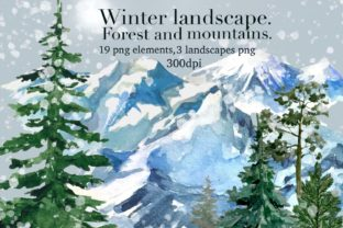 Print on Demand: Winter Forest Landscape,mountains Clipar Graphic Illustrations By Marine Universe