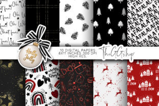 Print on Demand: BLACK SCANDINAVIAN CHRISTMAS PAPERS Graphic Print Templates By TheGGShop