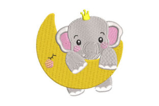 Baby Elephant and Moon Bed & Bath Embroidery Design By Embroiderypacks