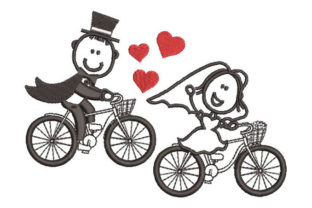 Bride and Groom on Bicycles Wedding Designs Embroidery Design By Embroiderypacks
