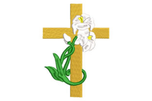 Cross Adorned with Plants Religion & Faith Embroidery Design By Embroiderypacks