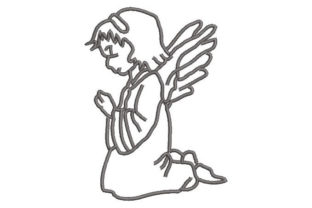 Angel Praying Silhouette Religion & Faith Embroidery Design By Embroiderypacks