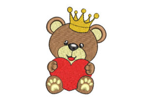 Baby Bear with Crown and Heart Teddy Bears Embroidery Design By Embroiderypacks