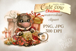 Print on Demand: Christmas Rustic Cute Cow Clipart, PNG Graphic Illustrations By CherrypearStudio
