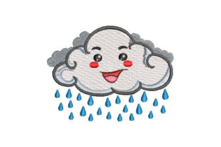 Cloud with Raindrops Herbst Stickdesign von Embroiderypacks
