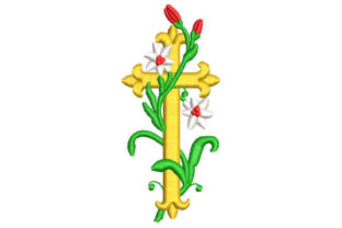 Cross with Branches and Flowers Religion & Faith Embroidery Design By Embroiderypacks