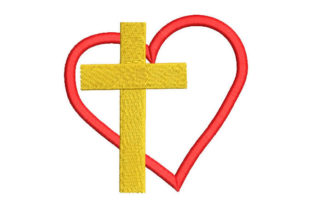 Cross with Heart Religion & Faith Embroidery Design By Embroiderypacks