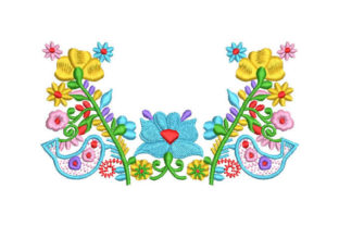 Flowers with Birds Floral & Garden Embroidery Design By Embroiderypacks