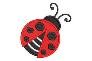 Ladybug with Hearts Bugs & Insects Embroidery Design By Embroiderypacks
