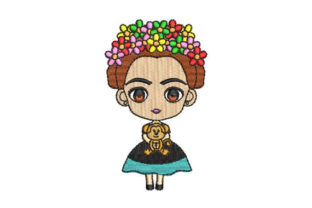 Mini Frida Kahlo Mexico Embroidery Design By Embroiderypacks