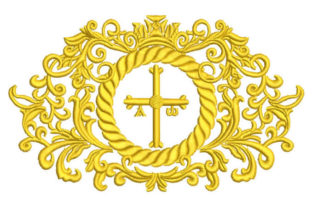 Ornamental Cross and Crown Work, Religion & School Embroidery Design By Embroiderypacks