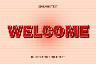 Print on Demand: Welcome Color Red Editable Text Effect Graphic Layer Styles By 5amil.studio55