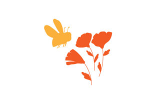 Bee Pollinating Flowers Silhouette Nature & Outdoors Craft Cut File By Creative Fabrica Crafts
