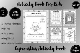 Gymnastics Kids Activity Book  KDP -V01 Graphic Coloring Pages & Books By Resources by Mariam