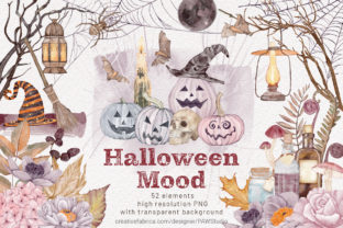 Print on Demand: Halloween Clipart Spooky Pumpkins Flower Graphic Illustrations By PawStudio 1