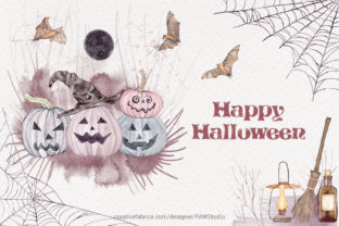Print on Demand: Halloween Clipart Spooky Pumpkins Flower Graphic Illustrations By PawStudio 10
