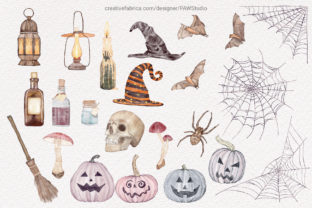 Print on Demand: Halloween Clipart Spooky Pumpkins Flower Graphic Illustrations By PawStudio 2