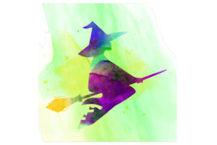 Watercolor Witch Flying on a Broomstick Halloween Craft Cut File By Creative Fabrica Crafts