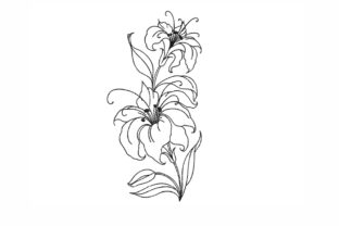 Lily Single Flowers & Plants Embroidery Design By NinoEmbroidery