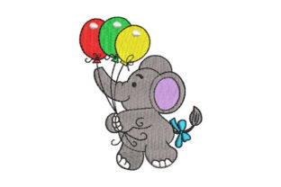 Baby Elephant with Balloons Baby Animals Embroidery Design By Embroiderypacks