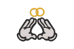 Hand with Wedding Rings Wedding Embroidery Design By Embroiderypacks