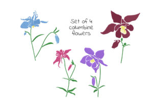 Print on Demand: Set of Columbine Flowers Single Flowers & Plants Embroidery Design By EmbArt