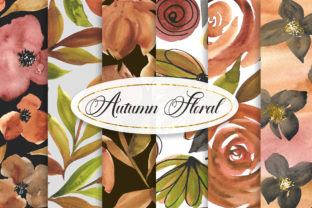 Print on Demand: Autumn Floral Watercolor Background Graphic Backgrounds By PinkPearly