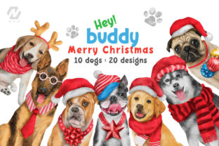 Print on Demand: Cute Watercolor Dogs Christmas Costume Graphic Illustrations By nesdigiart 1