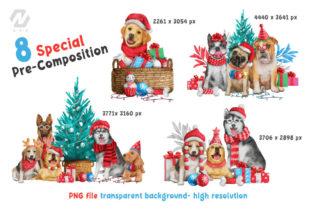 Print on Demand: Cute Watercolor Dogs Christmas Costume Graphic Illustrations By nesdigiart 10