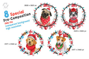 Print on Demand: Cute Watercolor Dogs Christmas Costume Graphic Illustrations By nesdigiart 11