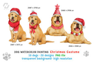 Print on Demand: Cute Watercolor Dogs Christmas Costume Graphic Illustrations By nesdigiart 2