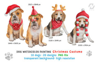 Print on Demand: Cute Watercolor Dogs Christmas Costume Graphic Illustrations By nesdigiart 3