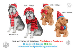Print on Demand: Cute Watercolor Dogs Christmas Costume Graphic Illustrations By nesdigiart 4