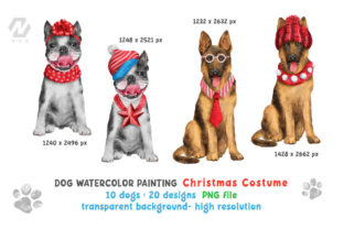 Print on Demand: Cute Watercolor Dogs Christmas Costume Graphic Illustrations By nesdigiart 5