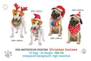 Print on Demand: Cute Watercolor Dogs Christmas Costume Graphic Illustrations By nesdigiart 6